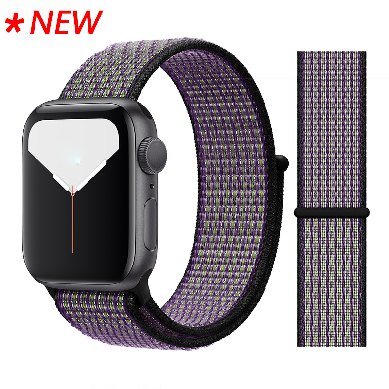 Для наручных часов Apple Watch, версии 3/2/1 38 мм 42 мм нейлон мягкий дышащий нейлон для наручных часов iWatch, сменный ремешок спортивный бесшовный series4/5 40 мм 44 мм - Цвет ремешка: 55 Desert sand