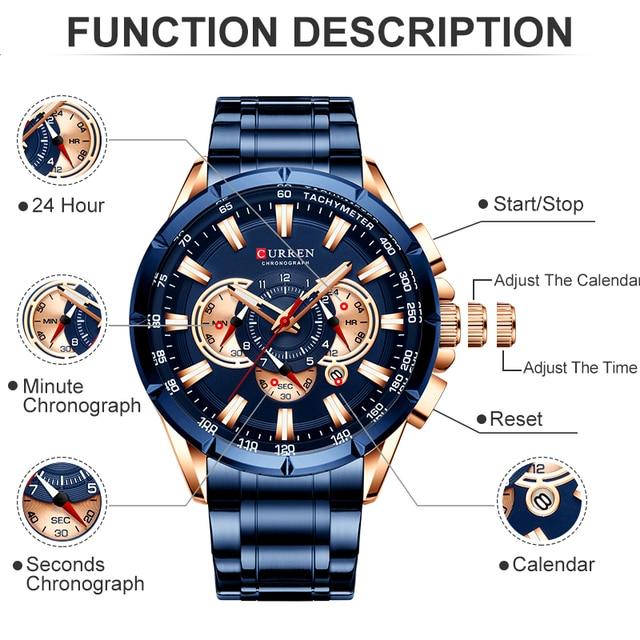 Curren montre pour hommes haut de gamme marque de luxe grand cadran bleu Quartz hommes montres chronographe Sport montre-bracelet homme acier inoxydable Date horloge