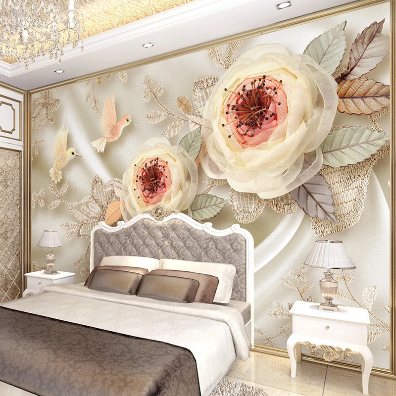 Custom 3D Photo Wallpaper Waterproof Silk Cloth European Style Flower Bird Bedroom Living Room TV Background Wall Mural Decor