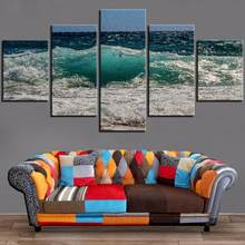 5 Pieces Blue Sea Canvas HD Painting Waves Posters Seascape Pictures Landscape Wallpapers For Home Room Decor Modern Artwork(China)