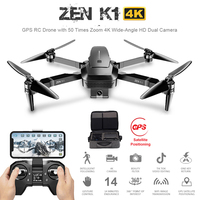 Visuo ZEN K1 GPS RC Drone with 50 Times Zoom 4K Wide Angle HD Dual Camera Wifi FPV Brushless Motor 28 Mins Flight Time SG906