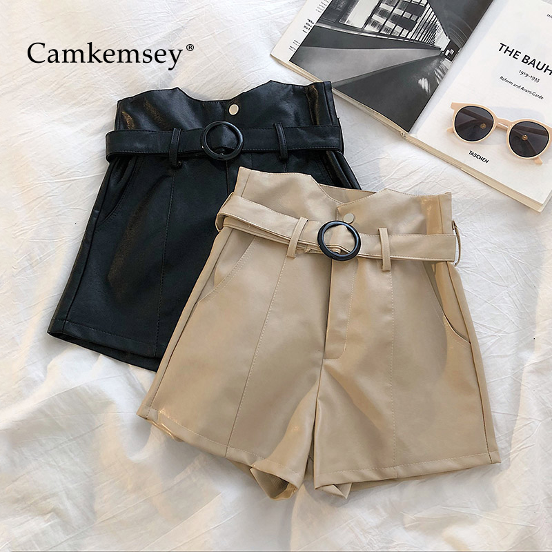 CamKemsey Women Casual High Waist PU Leather Shorts 2019 Korean Chic Autumn Solid Pockets Wide Leg Leather Shorts With Sashes