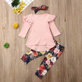 Pudcoco Toddler Baby Girl Clothes Fly Sleeve Knitting Cotton Long Sleeve Tops Flower Print Long Pants Headband 3Pcs Outfits Set thanksgiving toddler kids baby girl clothes long sleeve tops plaid pants leggings headband 3pcs outfits clothes set