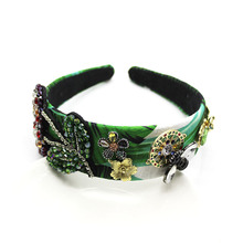 Green Fascinator Bee Headband Baroque Hairbands Turquoise Hair Accessories for Girls Rose Beauty Band Ladies Jewelled 2019