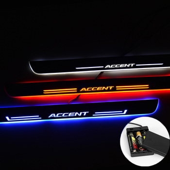 LED Door Sill For Hyundai Accent 2 II Sedán 2000 2001- 2006 Streamed Light Scuff Plate Acrylic Battery Car Door Sill Accessories image