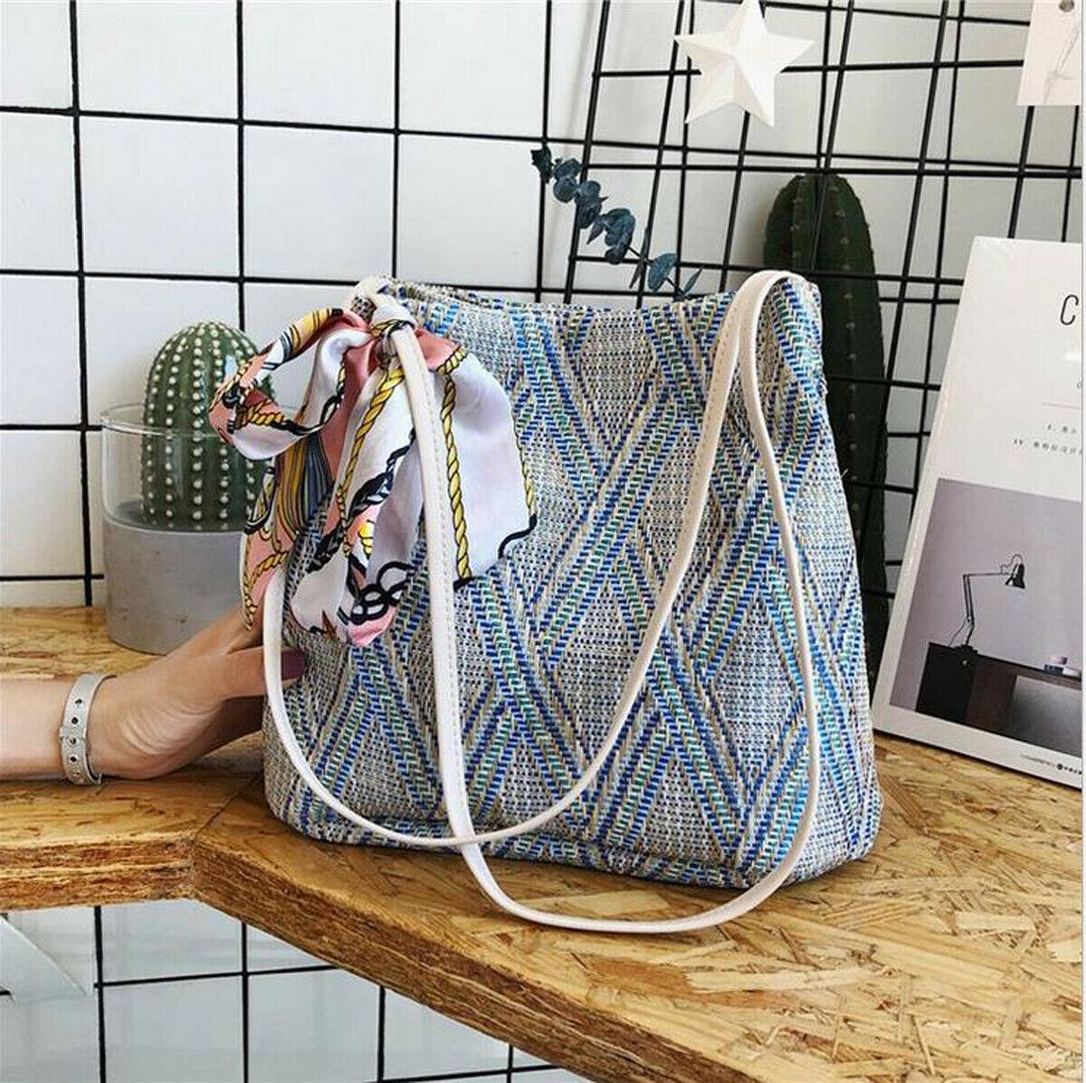 Straw Woven Bag Handmade Rattan Woven Vintage Retro Straw Rope Knitted Women Crossbody Handbag Summer Beach Bag