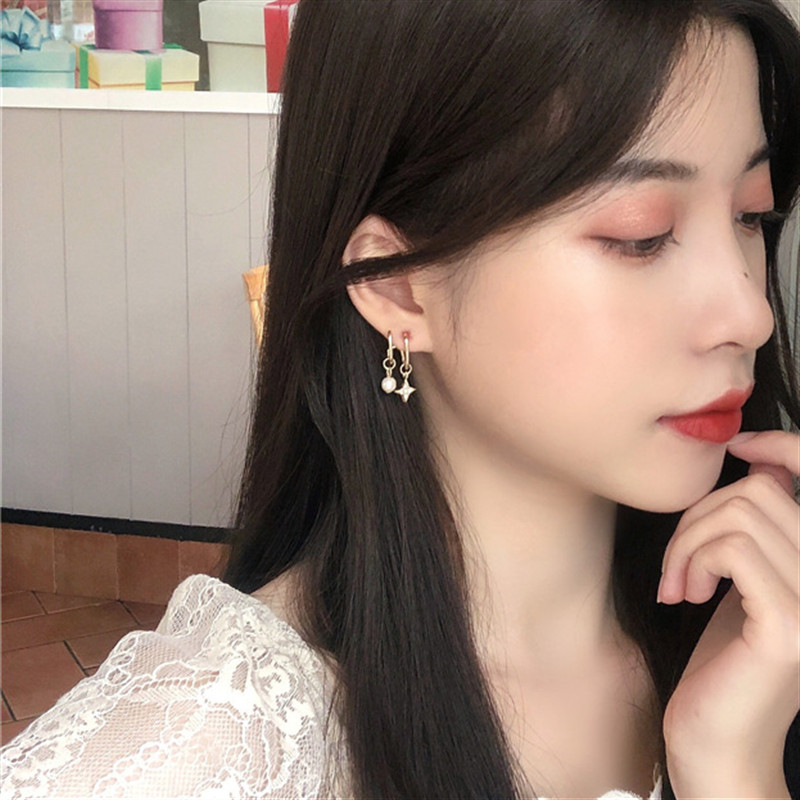 Geometry Pentagram Pearl Earrings Fashion Cute Romantic Metal Irregular Stars Crystal Stud Earrings Women