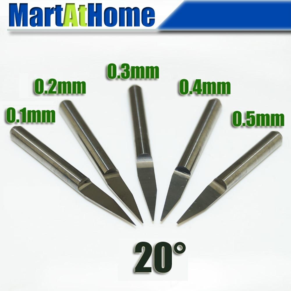 Argedo 5 pezzi / set kit completo carburo PCB incisione CNC punte a V 20 gradi 0,1 mm, 0,2 mm, 0,3 mm, 0,4 mm, 0,5 mm # SM474 @CF