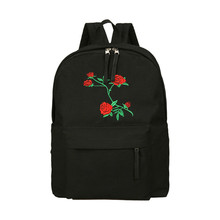 Harajuku Rose Embroidery Backpack White Black Women Travel Backpack Students Canvas Double Shoulder Bag Mochila