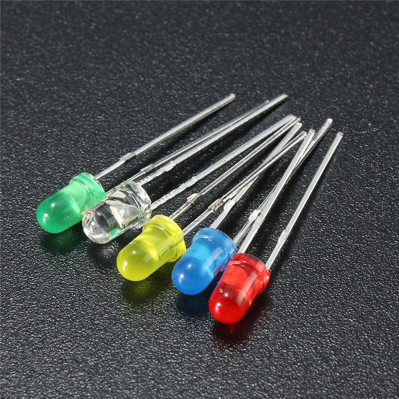 Image 3 - 100 pçs led emitindo diodos kit de luz 3mm 5 cores redondas  superior difuso branco amarelo vermelho azul verde variedade kit para  iluminação diyLâmpadas LED e tubos