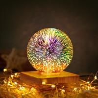 Lámpara de bola de cristal de fuegos artificiales 3D, mesita de noche para el hogar, ambiente luminoso, cielo estrellado, luz LED de noche