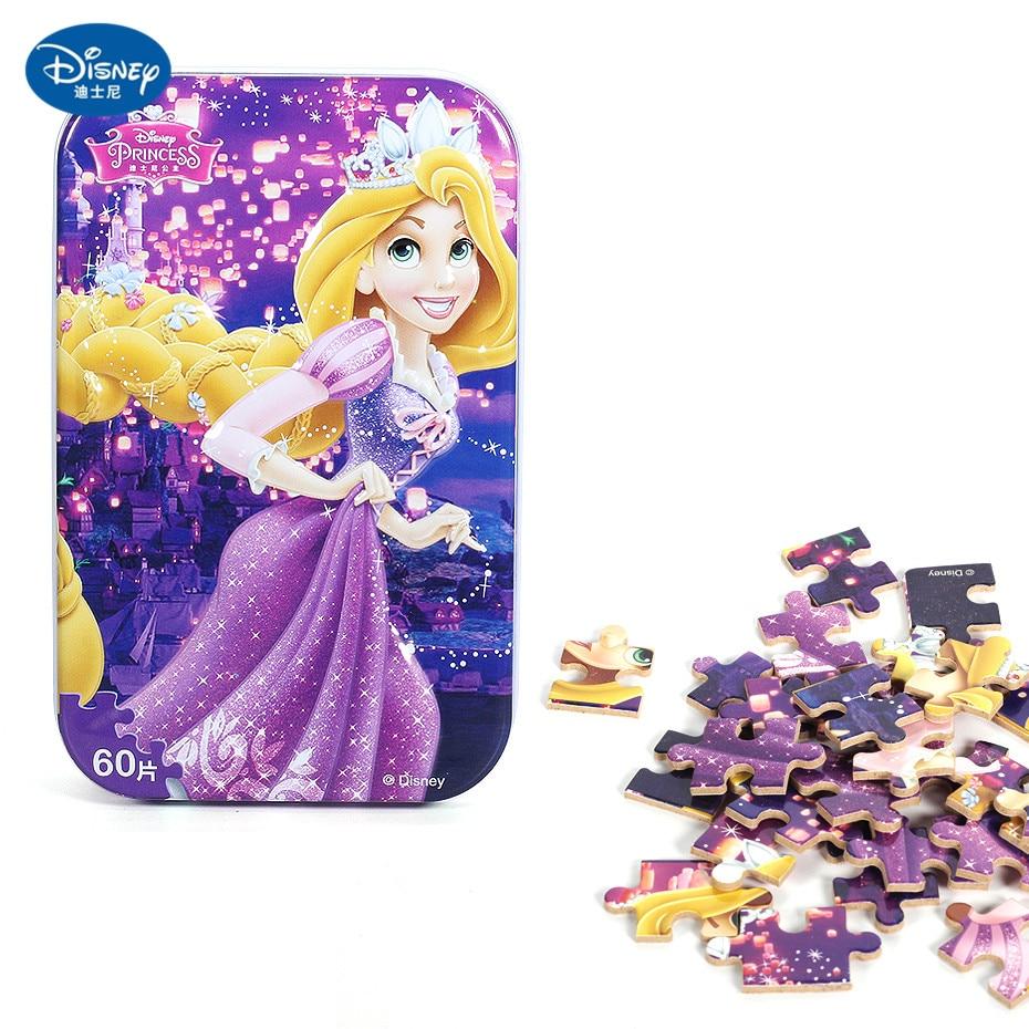 Disney 60 Piece Princess Frozen Wooden Box Puzzle Early Education Children Bottom Box Puzzle Birthday Toys Intelligence Puzzle 26