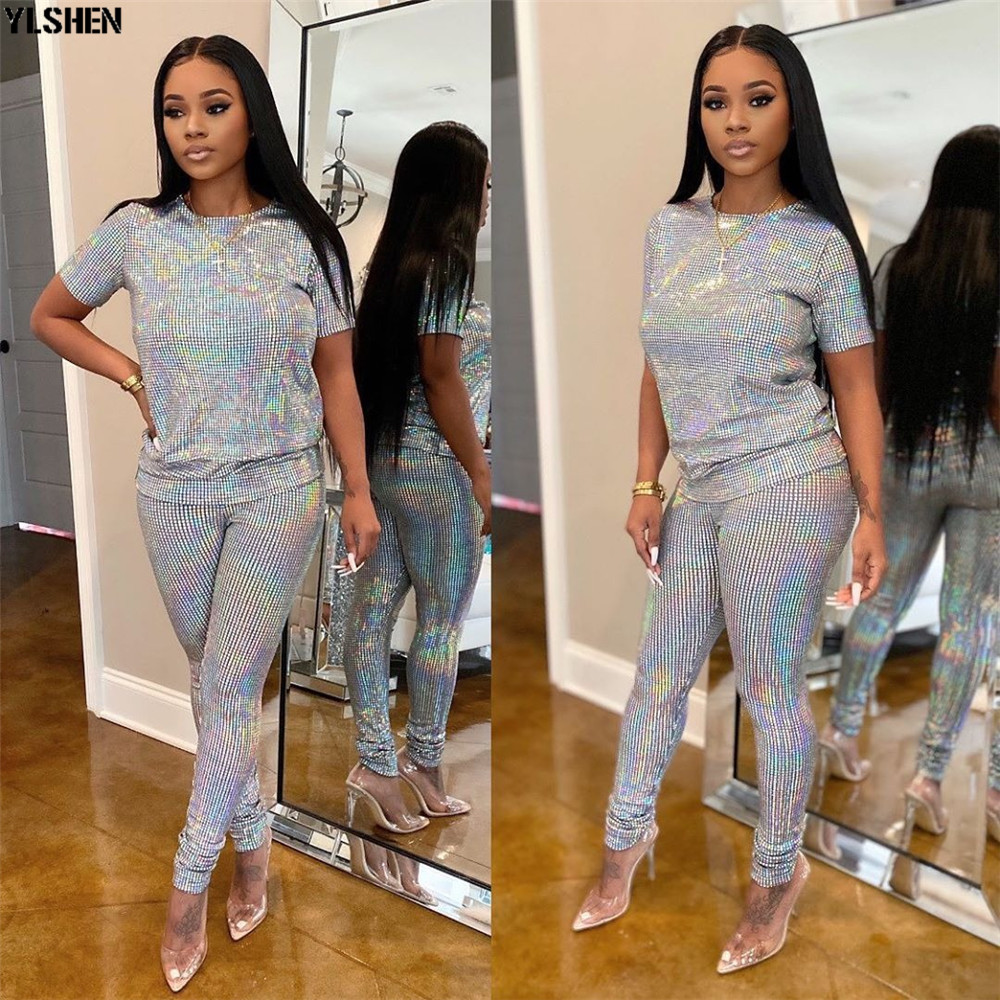2 Two Piece Set Women African Clothes Dashiki Fashion Sequins Suit (Top And Pants) Super Elastic Party Plus Size Suits For Lady 02