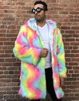 2019 New Fashion Men Women Fur Coat Long Parka Fox Fur Outdoor Casual Fur Jacket Rainbow Colorful Faux Fur Overcoat Outwear