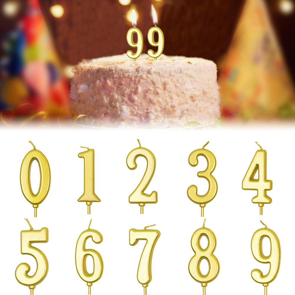 0-9 Number Candles Birthday Cake Candles Gold Smokeless Non-toxic Number Candles For Birthday Party Wedding Party Supplies