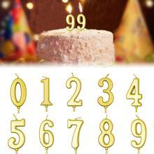 Свечи с цифрами 0-9, свечи для торта на день рождения, золотые бездымные нетоксичные свечи с цифрами для дня рождения, вечеринки, свадьбы, вечеринок