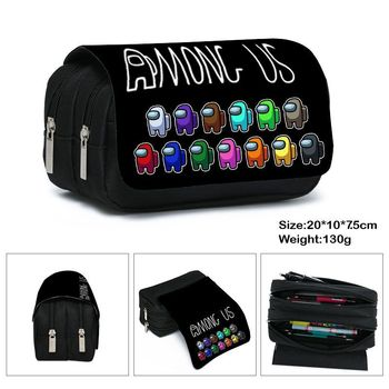 Game Among us Pencil Case Cute Canvas Zipper Pencil Bag Pencil Box kids Stationery gift impostor Student school supplies bag zipper pencil case twill canvas large pen box pencil bag for student school stationery supplies