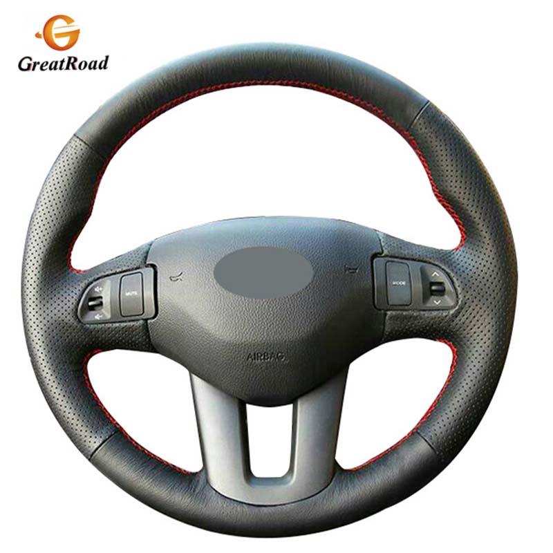 Black Artificial Leather Car Steering Wheel Cover for Kia Sportage 3 2011-2014 Kia Ceed 2010
