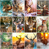 HUACAN Picture By Number Winter Deer Wall Art Oil Painting Animal Drawing Canvas Acrylic Handpainted Gift Home Decor