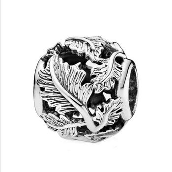 цена на Real 925 Sterling Silver Beads Charm Hollow Out Leaves Charm Fit Pandora Bracelet Bangle DIY Women Jewelry