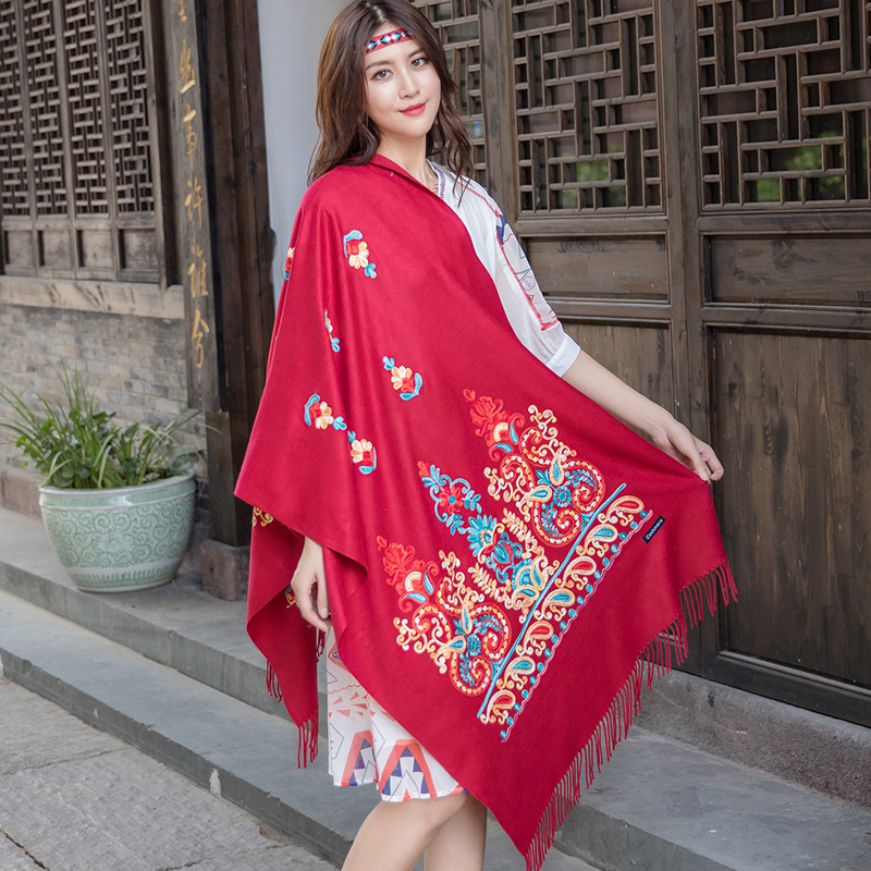 Ethnic Style Scarf Women Autumn And Winter Embroidered Flower Shawl Thickened Warmth Travel And Vacation Foulard Шарфы Женские