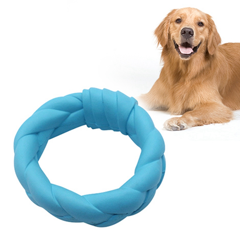 Pet grand chien anneau rond entraînement en caoutchouc à mâcher jouet en plein air formation à mâcher chien jouets interactif chien jouet dents nettoyage