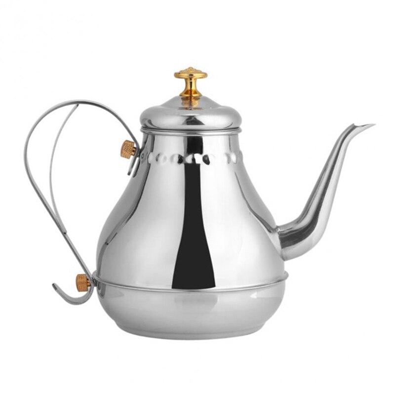 Ev ve Bahçe'ten Kahve Demlikleri'de Paslanmaz çelik demlik Gooseneck dökün filtre kahve su ısıtıcısı çay filtresi Pot kapalı cezve damla su isıtıcısı title=