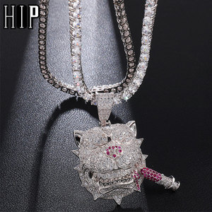 Hip Hop Bling Iced Out Cubic Zircon CZ Dog Pendants & Necklaces Copper Necklace For Men Rapper Jewelry With Tennis Chain