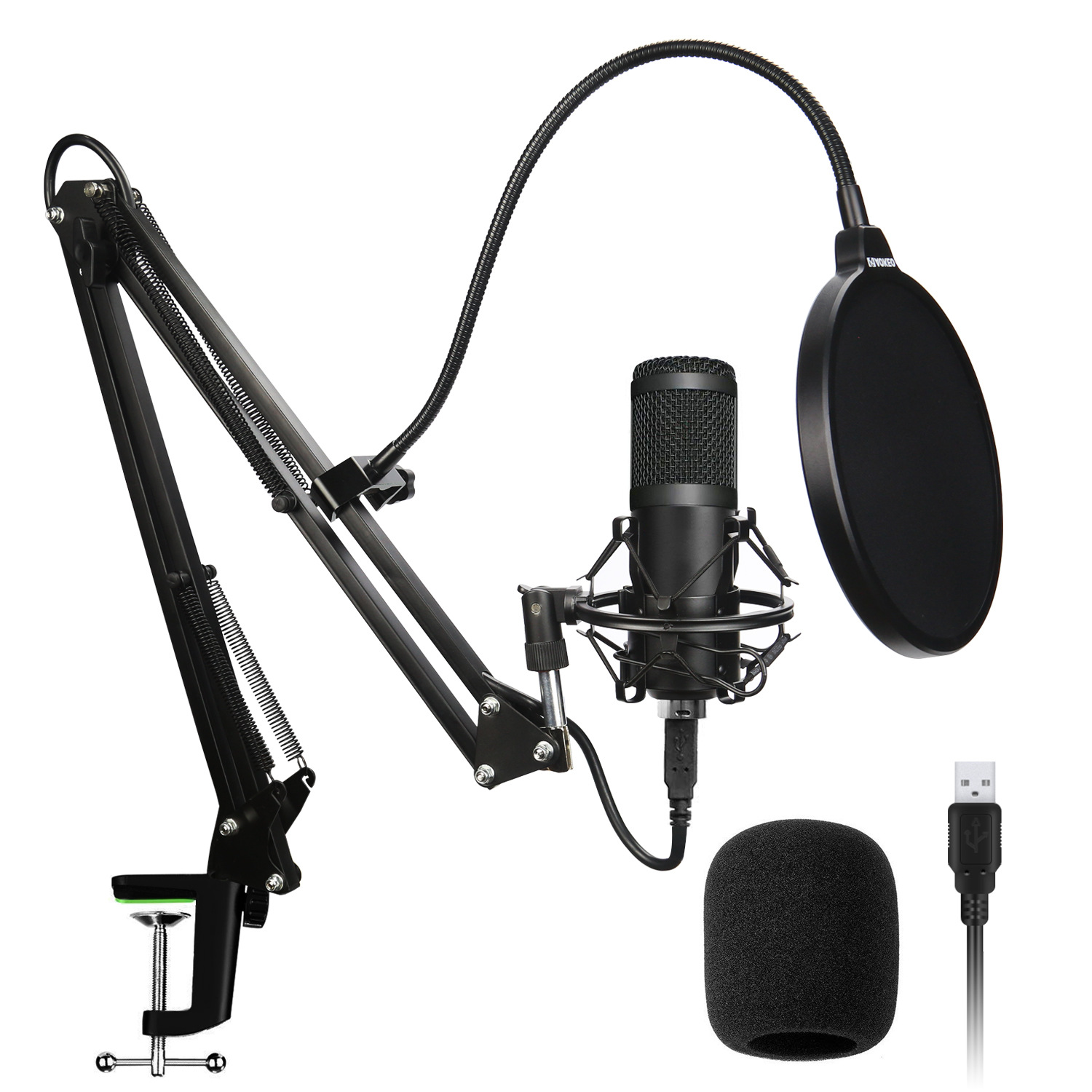 Professional Condenser Audio 3.5mm Wired BM800 Studio Microphone Vocal Recording KTV Karaoke Microphone Mic W/Stand For Computer