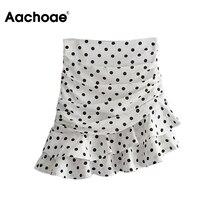 A-Line Skirt Asymmetrical Ruffle Bodycon Female High-Waist Beach Women Dot Aachoae Jupe