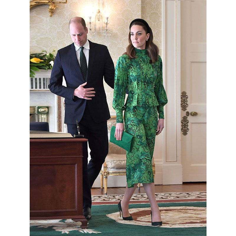 Princess Kate Middleton Dress 2020 Women Stand Collar Long Sleeves Rose Print Elegant Dresses Work Wear Clothes NP1044J