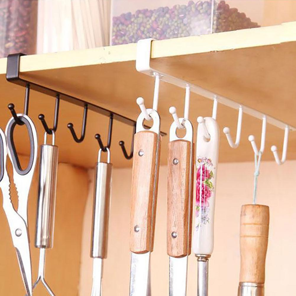 6 Hooks Kitchen Cupboard Cabinet Hanging Rack Metal Storage Hanger Organizer Home Storage Rack