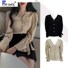 Blouses Tops Button-Shirts Flare-Sleeve Girls Korean-Style Women Lady V-Neck Temperament