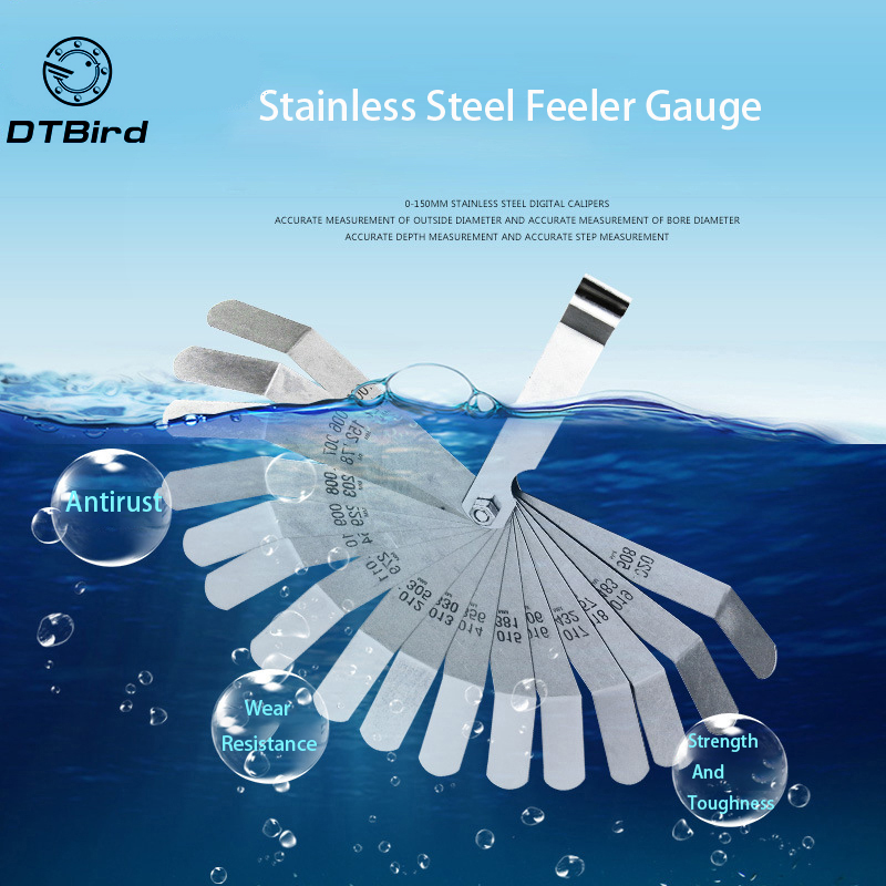 16pcs/set Feeler Gauge  0.127-0.508mm  For Stainless Steel  High-precision  Single Valve Plug Gauge  Easy To Use Durable