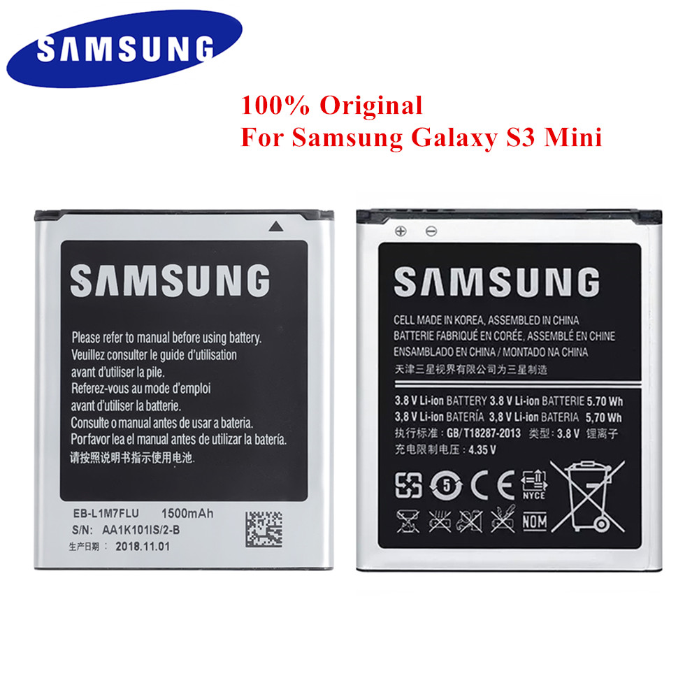 100% Original Battery EB-F1M7FLU for Samsung Galaxy S3 Mini GT-i8160 i8200 i8190 S7562 G313 i8190N I8190L 1500mAh Top Quality image