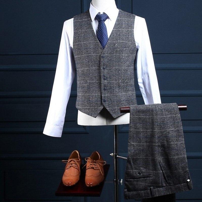 British Mens Wedding Tuxedo Gray Plaid Suits Slim Fit Office Business Man 3 Pcs Blazer Set Formal Party Prom Costume Terno Male