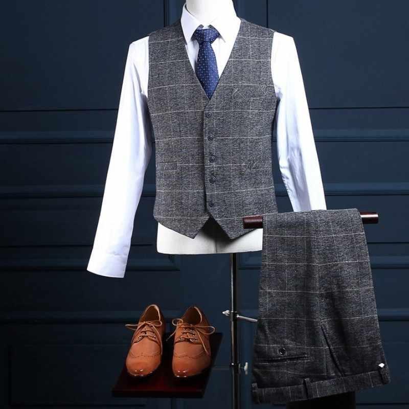Brytyjski męski smoking ślubny szary garnitury w kratę Slim Fit biuro biznes człowiek 3 sztuk zestaw blezer formalne na imprezę bal kostium Terno mężczyzna