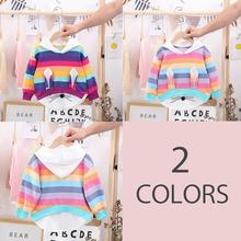 Autumn Kids Girls T-Shirt Top Rabbit Rainbow Print Long Sleeve Hooded Loose Top Fashion 2019 gathered sleeve mixed print wrap top