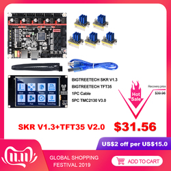 Bigtreetech skr v1.3 smoothieboard 32bit + tft35 v2.0 bltouch tmc2130 spi tmc2208 uart peças de impressora 3d vs mks gen l tmc2209
