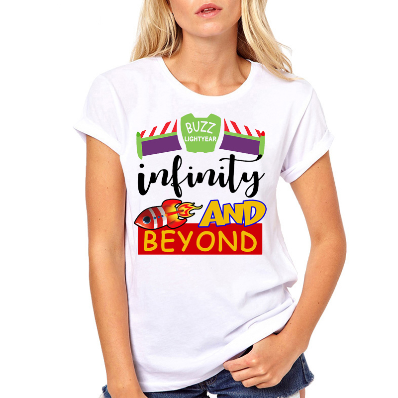 Women Clothes Buzz Toy Story To Infinite And Beyond Printed Summer Ladies Woman Harajuku Top Tee Shirt T Female T-shirt