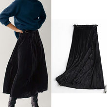 Женская офисная юбка za однотонная черная бархатная Плотная