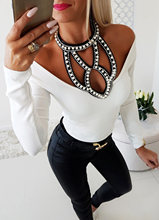 Hirigin Women Fashion Off Shoulder Beaded Long Sleeve Slim Fit Blouse Tops 2019 Newest Autumn Ladies Diamond Halter Sexy Shirts(China)