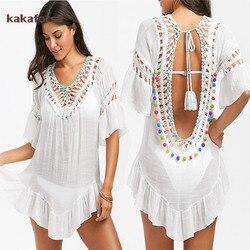 Kakaforsa сексуальное вязаное пляжное летнее пляжное платье с лямкой на шее, хлопковый купальник, однотонное пляжное платье, туника, бикини, чех...