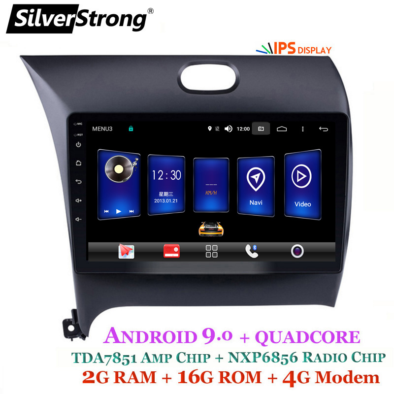 SilverStrong 2din 9inch Android9.0 4G MODEM Car DVD DSP For Kia CERATO K3 FORTE 2013 Left Driving DSP