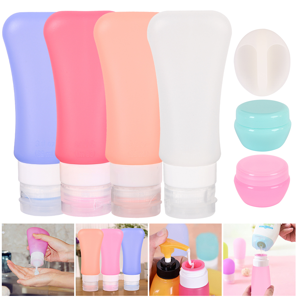 4pcs/7pcs Portable Silicone Travel Bottle Liquid Container Empty Refillable Packing Lotion Points Shampoo Container Cream Trip