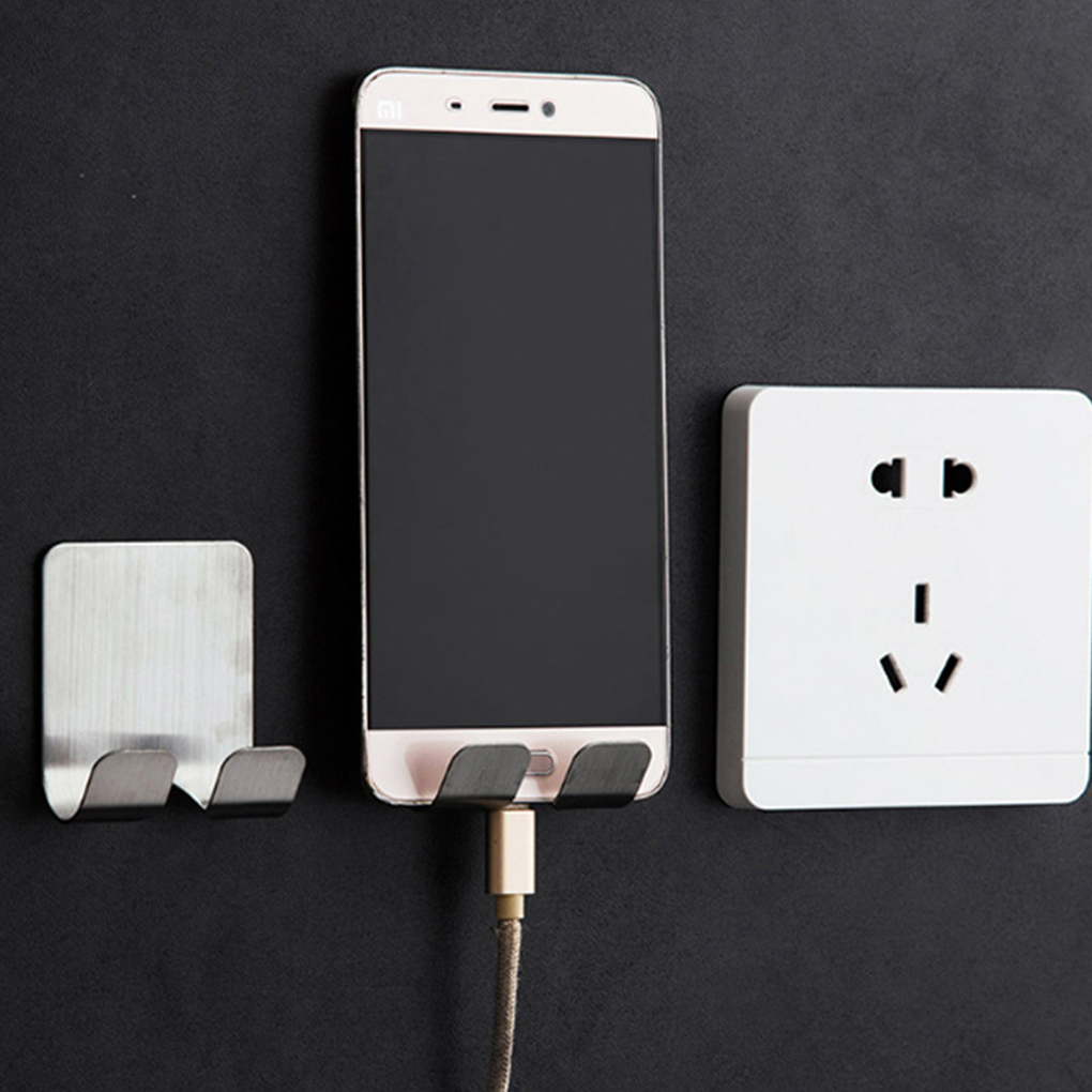 Cool  Stainless Steel Power Plug Holder Self Adhesive Cellphone Toothbrush Washroom Wall Cup Hook Organizers High Rating Holder