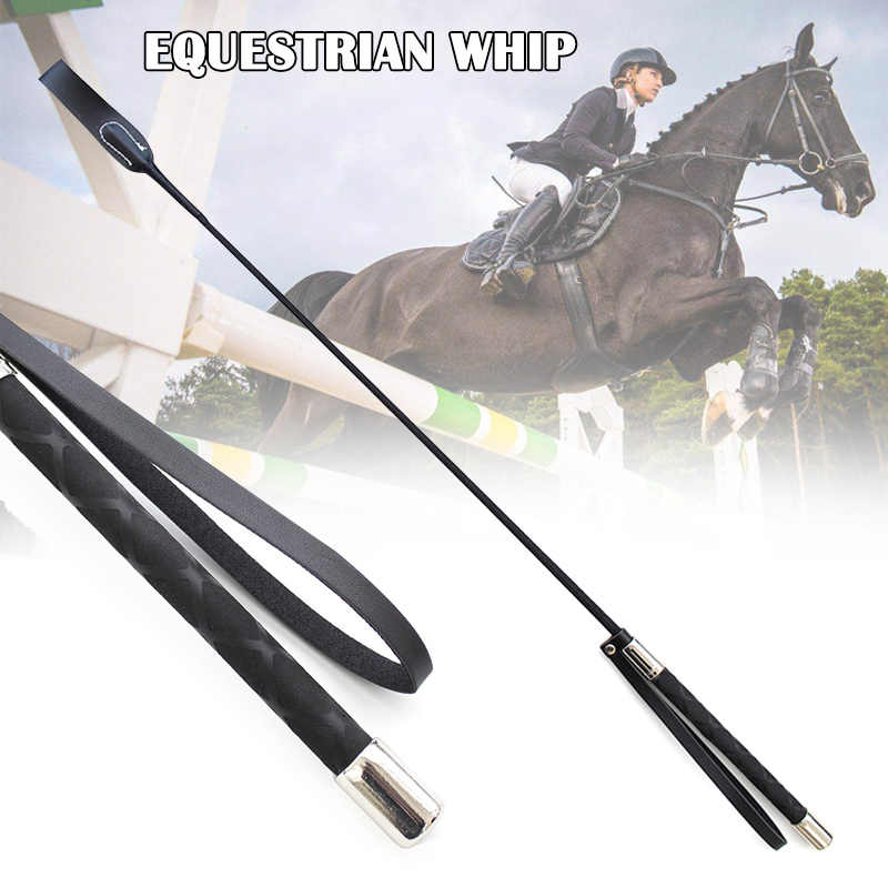 New Real Leather Rivet Horse Whip Riding Crop Whip Straight Flogger Cosplay