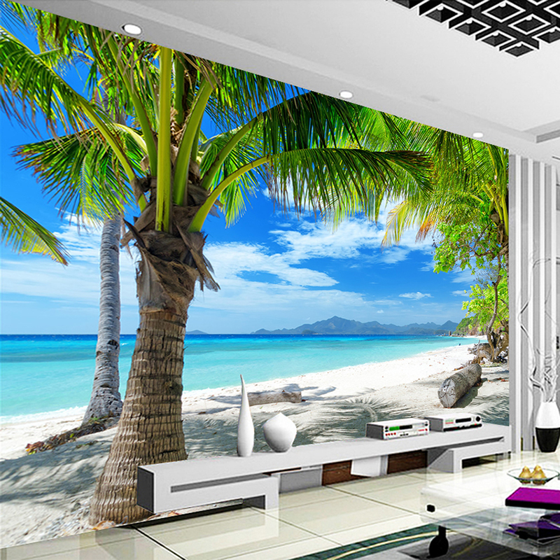 Custom Photo Mural Wallpaper 3D Sea Beach Coconut Tree Seascape Wall Painting Modern Living Room Sofa TV Background Wall Paper