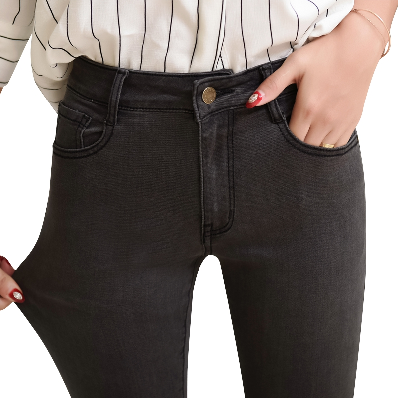 Jeans Woman High Waist   Skinny   Plus Size Ankle Length Basic  Slim Black  Black  Gray  Pencil Denim  Pant
