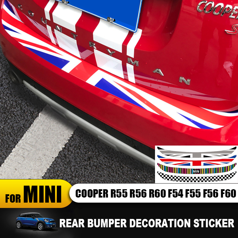 Union Jack Car Rear Bumper Decoration Sticker Trunk Load Edage Protection Decal For Mini Cooper F56 F60 R60 R55 F54 Car-styling